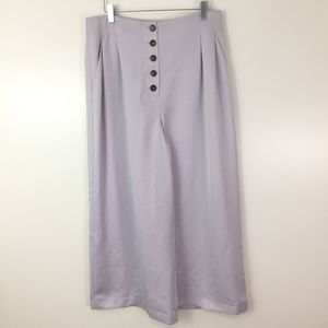 TOPSHOP Lilac Satin Button Fly Wide Leg Pants 10